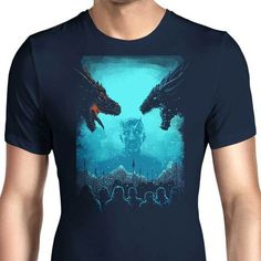 A Game of Thrones themed men's T-Shirt with the Night King in the middle of two dragons. $21.99