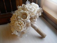 Rustic Shabby Chic Bouquet, Sola Flowers, Burlap, Lace, Rustic Shabby Chic Weddings. Made to Order. by PapernLace http://shabify.com/s/rustic-shabby-chic-bouquet-sola-flowers-burlap-lace-rustic-shabby-chic-weddings-made-to-order-by-papernlace/