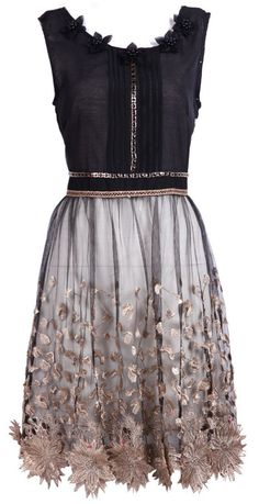 Black Bead Embroidery Applique Dress #love #want #gorgeous