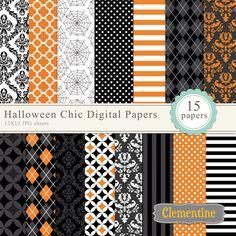 Halloween digital paper 12x12 digital by ClementineDigitals