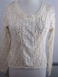 Flying Tomato crochet sweater Small Ivory Cotton Blend Long sleeve #FlyingTomato #ScoopNeck #Everyday
