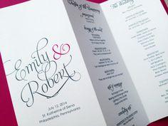 Scripted Pearl Shimmer Trifold Wedding Programs - Wedding Program - Order of Service