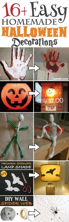Easy Homemade DIY Halloween Decor for indoors and outdoors! Perfect projects for the front porch, yard or anywhere in the home. A lot of cheap Dollar Store ideas too! Scary, creepy and cute! Easy enough for kids.