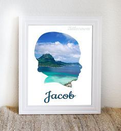 Child Silhouette with Photo Custom by 2LittleCrownsPrints on Etsy