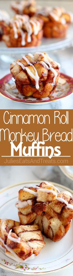 Cinnamon Roll Monkey Bread Muffins Recipe - Use cinnamon rolls for this easy and tasty twist on monkey bread. Sweet, soft, filled with cinnamon, and topped with cream cheese icing.