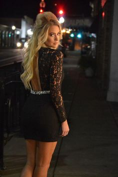 Customized Black Cocktail Dresses Lace Long Sleeves Round Neck Sexy Women Tight Dress For Prom Stones Belt With Hollow Back Juniors Dresses Online Dresses From Dressonline0603, $107.85| Dhgate.Com
