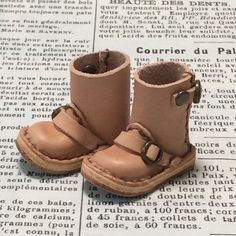 Real leather: miniature Engineer boots [NATURAL] (for blythe)