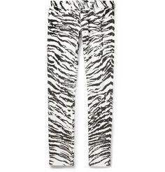 Saint Laurent Slim-Fit 15.5cm Hem Zebra-Print Jeans | MR PORTER