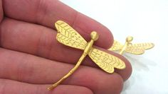 2 Pcs Gold Plated Brass Dragonfly CharmsConnector by AZsupplies, $3.90