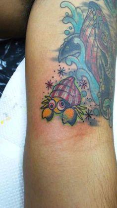 #tattoo #tropical #slapstick #yokohama #horitaka #hermit crab Tropical Tattoo, Yokohama, Watercolor Tattoo, Tattoos, Animals, Tatuajes, Animales, Animaux, Tattoo