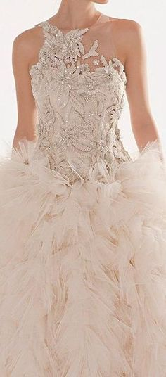 Blush Wedding Dress, Blush and Gold Wedding, Blush Bridal I would want more coverage around the shoulders. But such gorgeous lace and flowing skirt Wedding Dress Styles, Wedding Attire, Bridal Gowns, Wedding Gowns, Vestido Dress, Beautiful Gowns, Dream Dress, Pretty Dresses, Evening Gowns