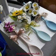 Garden Design - New ideas Wooden Spoon Crafts, Wooden Spoons, Wood Crafts, Diy Home Crafts, Crafts For Kids, Diy Para A Casa, Spoon Art, Creation Deco, Diy Décoration