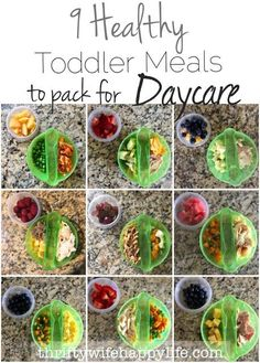 Thrifty Wife, Happy Life- 9 Healthy Toddler Meals to Pack for Daycare. Healthy Snacks For Toddlers And Preschoolers Daycare Meals, Kids Meals, Baby Meals, Toddler Dinners, School Lunches, Healthy Toddler Meals, Healthy Kids, Healthy Lunch For Toddlers, Finger Foods For Toddlers