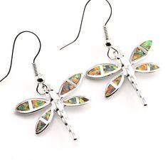 Dragonfly Orange Fire Opal Silver Dangle Earrings
