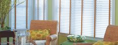 Durable composite blinds with fabric tape to add a hint of color completes a room's look.