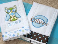 """Ok, I believe """"fancy burpcloths"""" is an oxymoron of sorts and/or ridiculous...but got these (the owl & an airplane design) for a special occasion when I didn't want to just pull rags out of my bag. Silly? Maybe...but they're awfully cute & I really like this etsy seller, too. Oh, and my baby's name isn't Oliver but Oliver is a fine name, too ;)"""