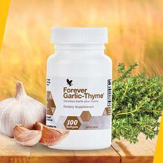 Utilizarea usturoiului si a cimbrului in alimentatie dateaza de mii de ani. Un papirus din Egiptul Antic (1500 i.Hr.) mentioneaza 22 de utilizari curative ale usturoiului. Astazi, stiinta ne dezvaluie modul de actiune al acestor plante.  Forever Garlic-Thyme combina usturoiul si cimbrul, doi antioxidanti foarte puternici, intr-un supliment nutritiv cu efecte benefice asupra mentinerii sanatatii.  Garlic-Thyme contine potasiu, calciu, magneziu, complexul vitaminei B si vitamina C… Egiptul Antic, Forever Aloe, Forever Living Products, Aloe Vera, Coconut Oil, Jar, Food, Productivity, Vitamin C