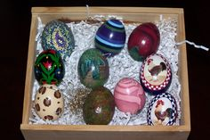 Real chicken eggs, painted, decoupage, beaded