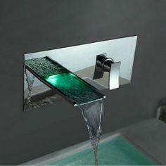 changement de couleur robinet conduit lavabo cascade salle de bains  (support mural) F8013 Robinetterie b8951cd4d4b7