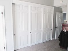 Got old closet doors that don't match the room door? Check out this super modern 3 track, 3 panel, white woodgrain surface, raised panel closet door installation in the city of Rancho Cucamonga, California! Get your home up to speed today by visiting our website www.8665670400.com or calling (866) 567-0400!