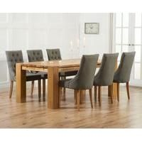 Mark Harris Rustique Solid Oak Extending Dining Table with 6 Pailin Grey Chair Oak Extending Dining Table, Solid Oak Dining Table, Oak Table, Extendable Dining Table, Dining Sets, Table Legs, Solid Oak Furniture, Oak Furniture House, Fabric Dining Room Chairs