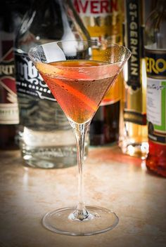 The Devil's Soul:  1½ oz Rittenhouse rye whiskey ½ oz Sombra mezcal ½ oz Averna ¼ oz Aperol ¼ oz St. Germaine orange peel for garnish Stir with ice until very cold; strain into a chilled coupe. Flame the orange twist over the drink, and add as garnish.