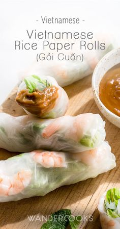 Vietnamese Rice Paper Rolls - Vietnamese Rice Paper Rolls Recipe - Addictive snacks or a light lunch, these tasty rolls are filled with prawns, vermicelli noodles, crispy lettuce and fresh mint. Paired perfectly with our peanut hoisin dipping sauce. Easy Asian Recipes, Vietnamese Recipes, Wrap Recipes, Vietnamese Food, Korean Food, Chinese Food, Rice Paper Recipes, Recipe Paper, Rice Paper Rolls Fillings