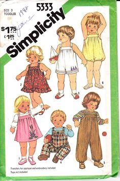 Simplicity 5333 Toddlers Girls Boys Size 3 Sundress Overalls Jumper Bubble Suit Vintage Sewing Pattern Out of Print UNCUT. $4.00, via Etsy.