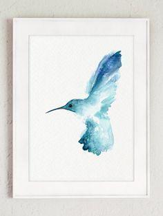 Kolibri Aquarell Blauer Vogel Wand Dekor Natur Tiermalerei B Aquarell Blauer Dekor Kolibri Natur Watercolor Bird Nature Art Prints Hummingbird Art