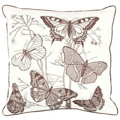 Linen and cotton pillow with a butterfly motif and piped edging.   Product: Set of 2 pillowsConstruction Material: L...