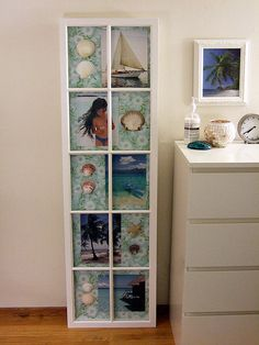 Old window frame now houses beach memories....salvaged window = windowbox shadowbox!!!!  :0