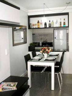 Sala de jantar de um apartamento de 54 m². Projeto de Ana Paula Boufleur.