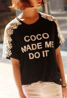 [grzxy6600054]Loose Fitting Lace Spliced Letters Print T-shirt