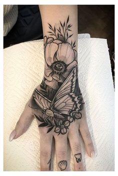 Tiger Hand Tattoo, Name Tattoo On Hand, Tribal Hand Tattoos, Skeleton Hand Tattoo, Herren Hand Tattoos, Butterfly Hand Tattoo, Side Hand Tattoos, Hand Tats, Hand Tattoos For Women