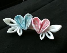 Items similar to kanzashi flowers pink and blue heart with white wings barrette on Etsy Ribbon Art, Diy Ribbon, Ribbon Crafts, Flower Crafts, Ribbon Bows, Fabric Crafts, Ribbons, Cloth Flowers, Diy Flowers