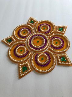 Items similar to Handmade Kundan Rangoli on Etsy Rangoli Border Designs, Colorful Rangoli Designs, Border Embroidery Designs, Rangoli Designs Diwali, Thali Decoration Ideas, Diy Diwali Decorations, Diwali Diy, Diwali Craft, Cd Crafts