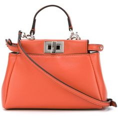 Fendi micro 'Peekaboo' tote ($1,365) ❤ liked on Polyvore featuring bags, handbags, tote bags, red tote purse, tote purse, orange tote, red purse and handbags totes
