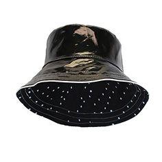 Black Patent Polka Dot Reversible Waterproof Bucket Rain Hat 0c912b2748