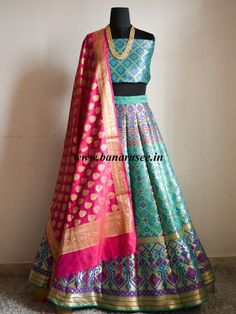 Banarasee/Banarasi Handwoven Art Silk Unstitched Lehenga & Blouse Fabric With Woven Meena Design With Dupatta-Spring Green