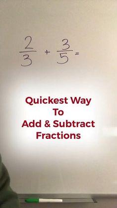 Mental Math Tricks, Cool Math Tricks, Maths Tricks, Math Strategies, Math Resources, Math Tips, Math Hacks, Math Fractions, Adding Fractions