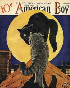 Black and Tabby Cat Have it out--American Boy--Vintage Halloween Magazine Cover