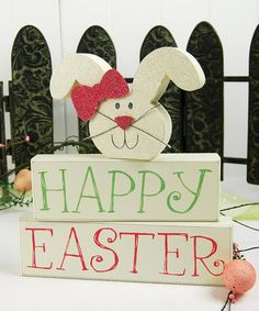 White Bunny 'Happy Easter' Block Set