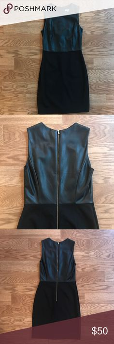Banana Republic Dress with Faux Leather Top Tight fitting black dress with faux leather top. Zipper down the back. Only worn once. Banana Republic Dresses Mini