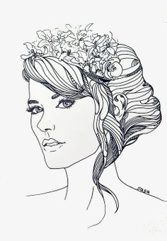 Girl With Flower Crown Drawing