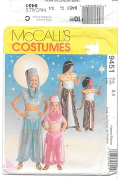 McCalls Costumes  9451 Child s genie and cleopatra size 3-4 cut cc4fbb14c8f8