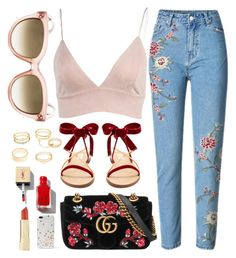 """""""Insta Look"""" by smartbuyglasses ❤ liked on Polyvore featuring Valentino, Gucci, Charlotte Russe, Axiology, Kate Spade, red and celine"""