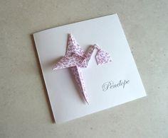 Faire part de naissance cigogne en origami - carte double - papier à motif liberty violet