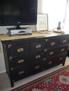 Ikea dresser made interesting w/ brass hardware