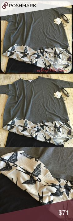 """🦄🆕 Lularoe GRAY BIRD SPARROW LAYERED DIPPED Irma 🦄🆕 Lularoe GRAY BIRD SPARROW LAYERED DIPPED Irma! The Irma top is a loose, knit """"high-low"""" tunic with raglan mid-length sleeves. The extra length in the back makes it a great compliment to leggings – especially for all those wanting some extra coverage for their, ahem, assets. Wear this top and you might never take it off. 96% Polyester 4% Spandex DEMAND + SUPPLY=PRICE! *I am not a consultant! Just a LLR addict shopping for these great…"""