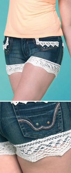 Free Knitting Pattern for Lace Trim for Shorts - Upcycle your jeans shorts or other shorts with the Kirsty lace edging for hems and pockets. The basic lace stitches are easy and a set of trims can be finished in an afternoon. Designed by Julie Ferguson.